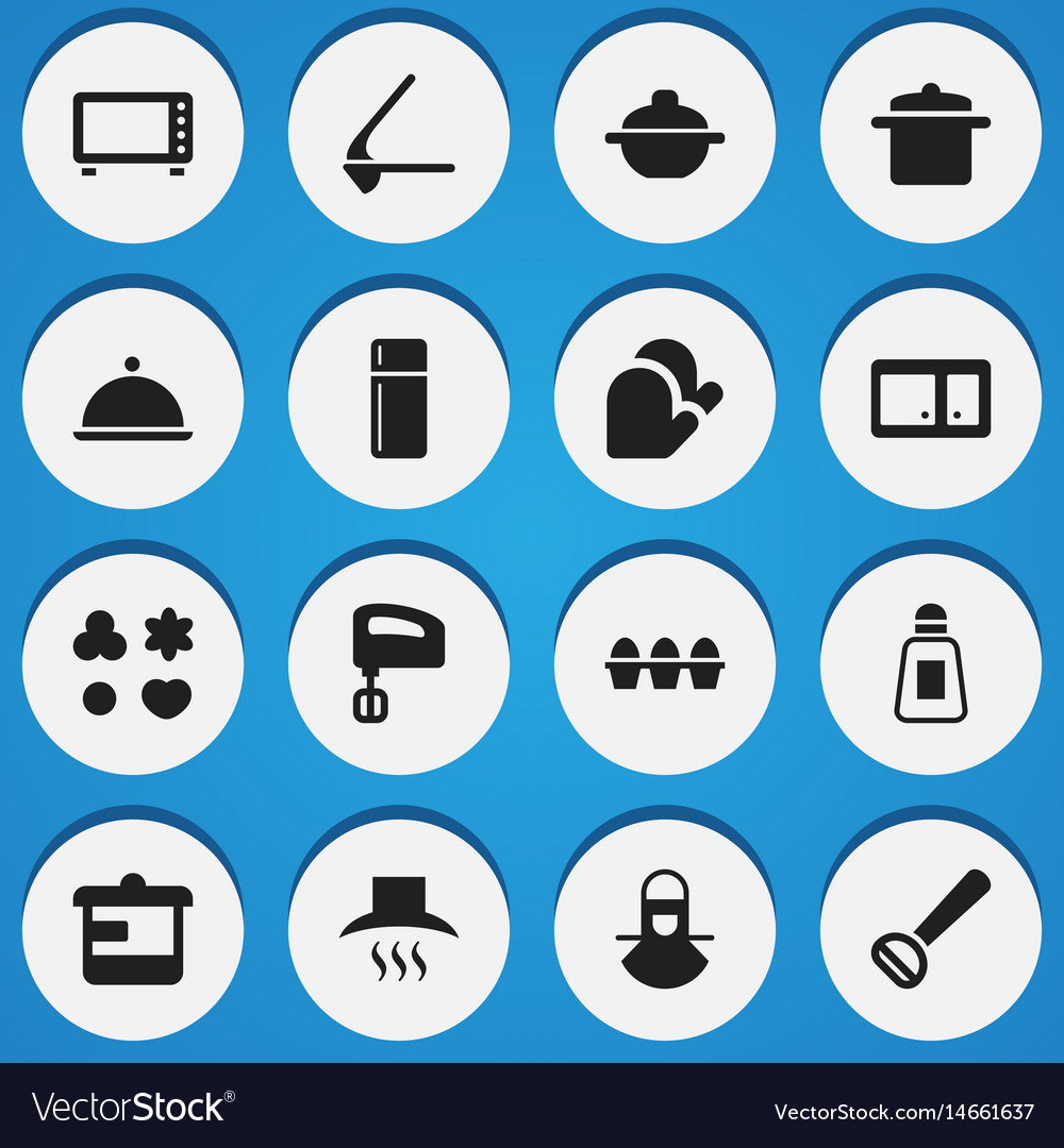 Set of 16 editable meal icons includes symbols