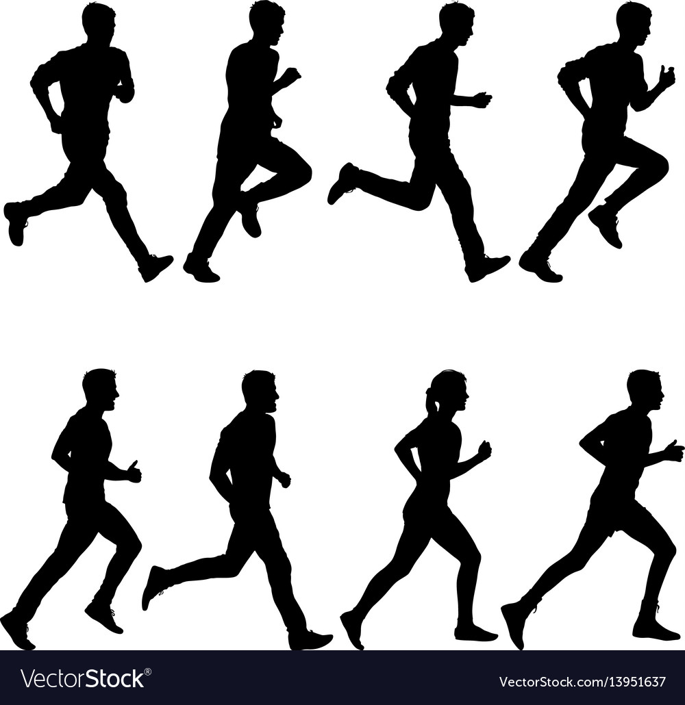 Set of silhouettes runners on sprint men and
