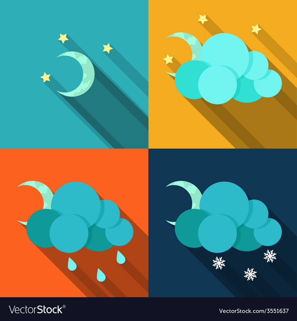 Weather icons in flat style