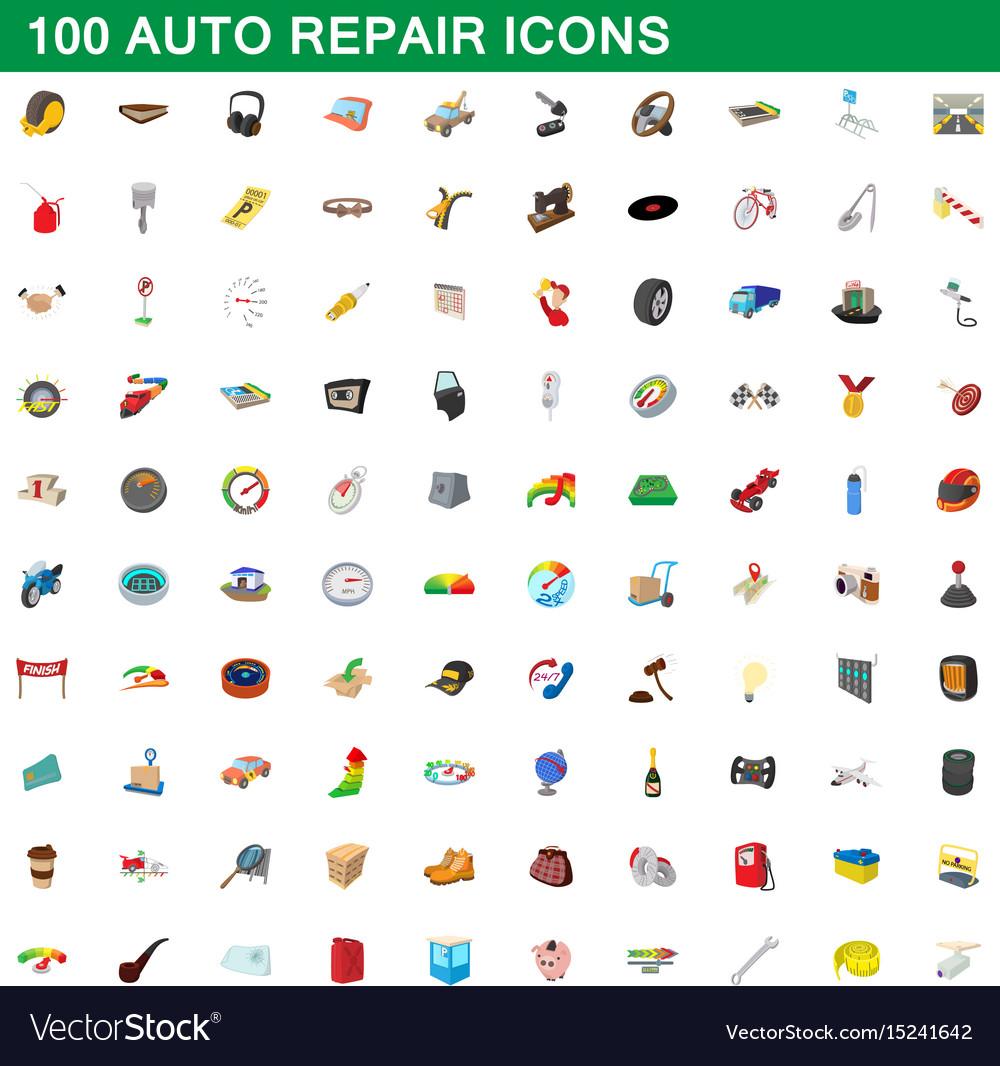 100 auto repair icons set cartoon style