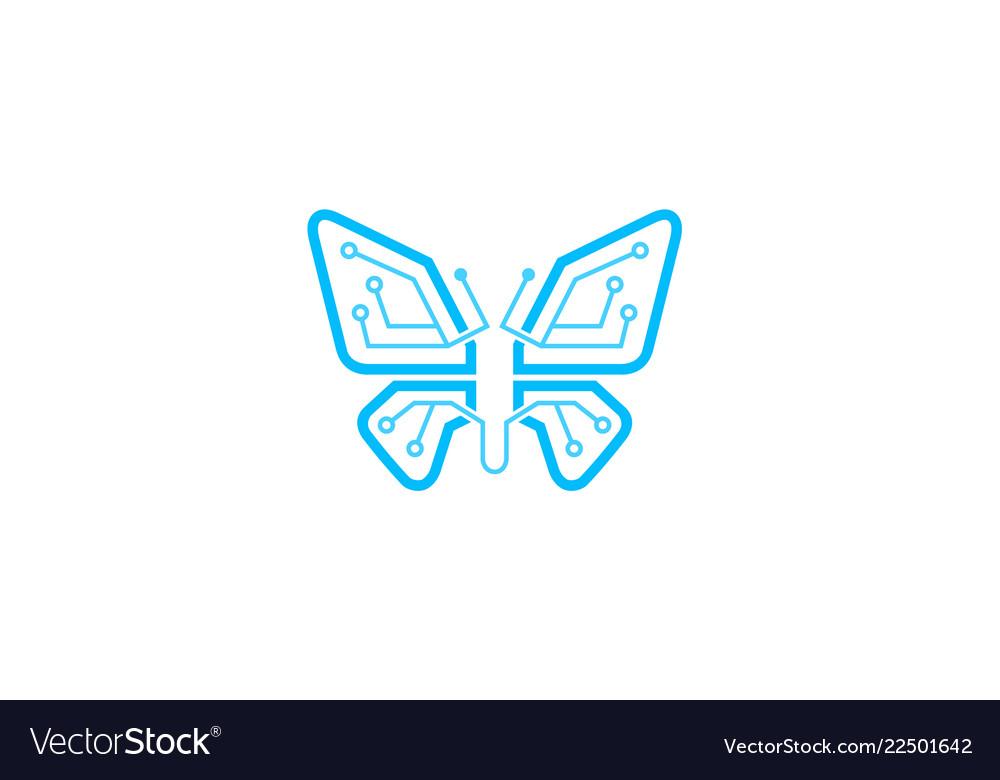 Creative blue butterfly technology logo