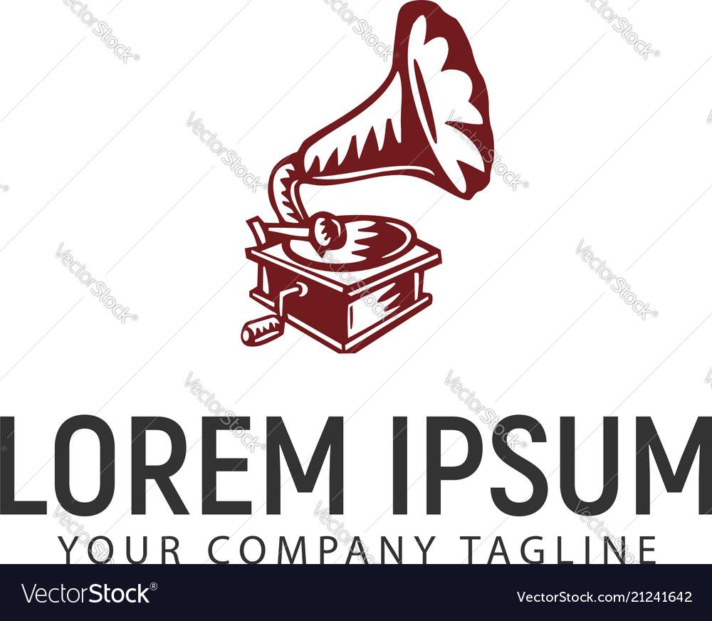 Gramophone logo design concept template