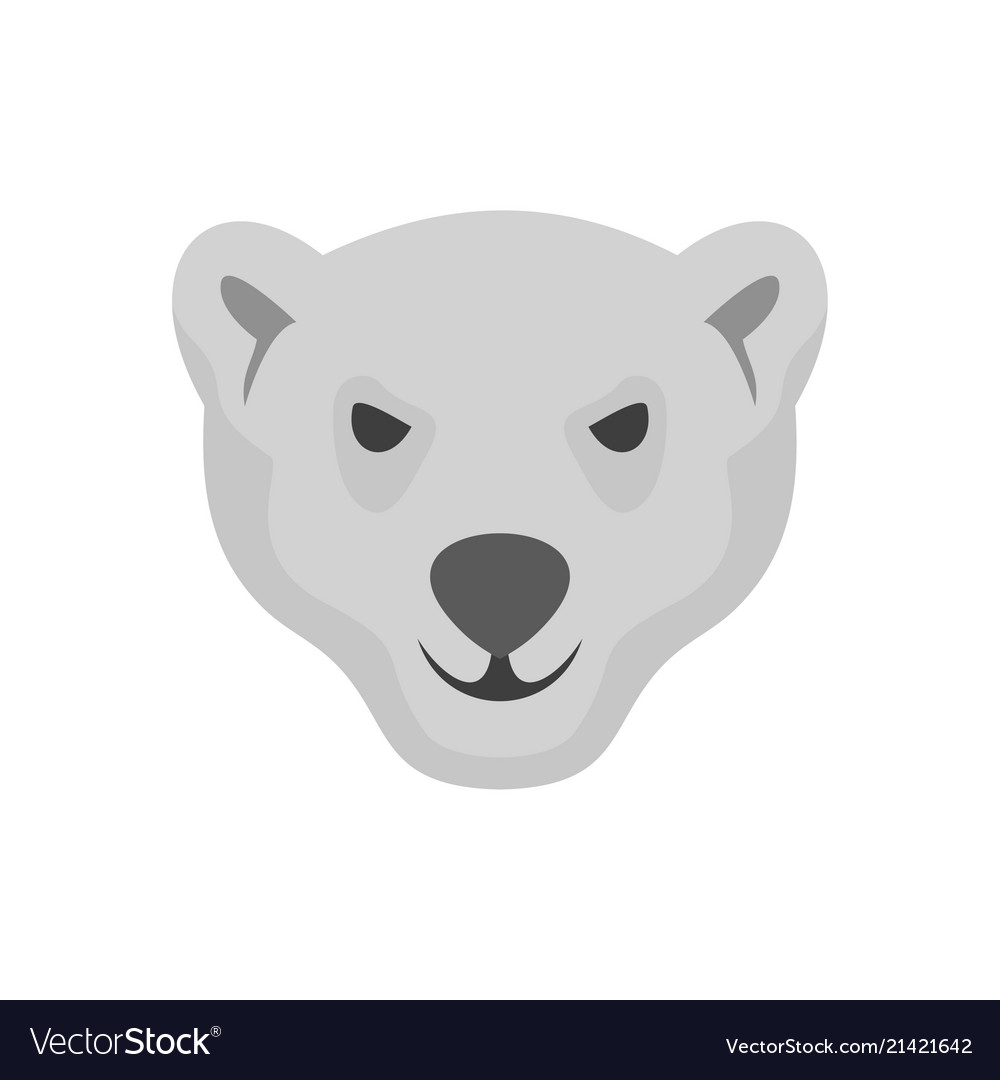 Hungry head of polar bear icon flat style