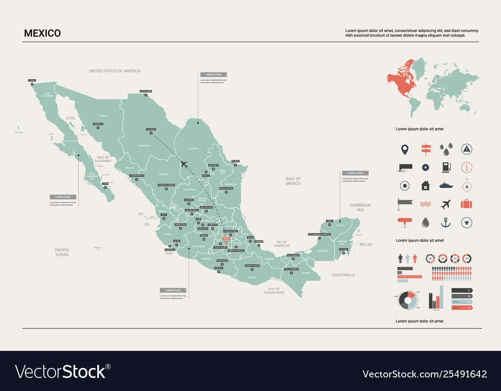 Map Mexico Country Map With Division Cities Vector Image