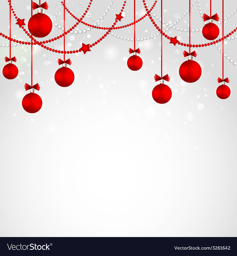 Merry Christmas Greeting Card With Bauble Template