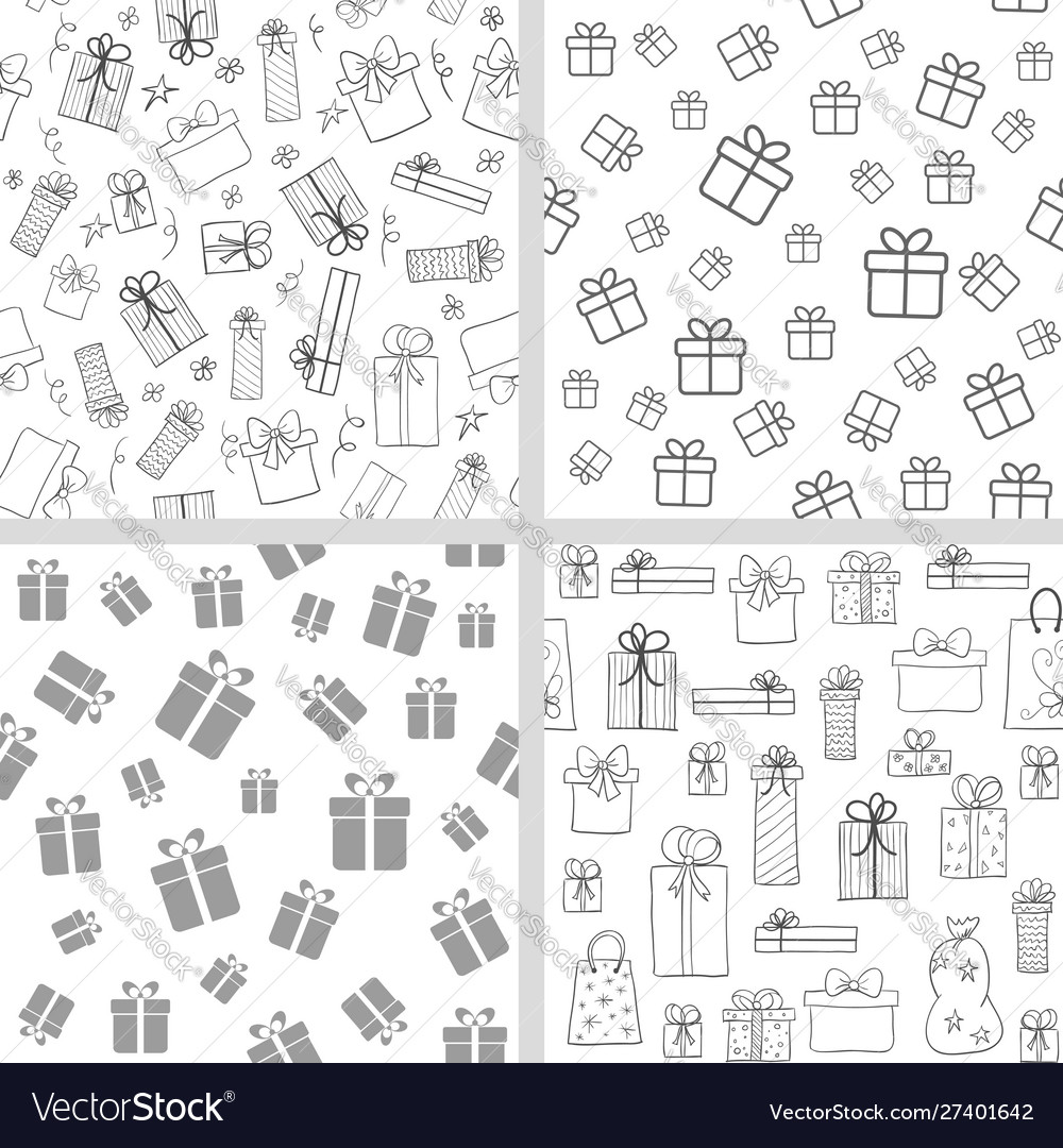 Set seamless patterns with gift boxes