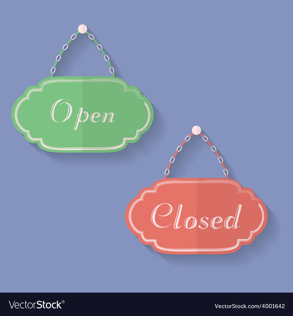 Signs of Open and Closed Open closed icons