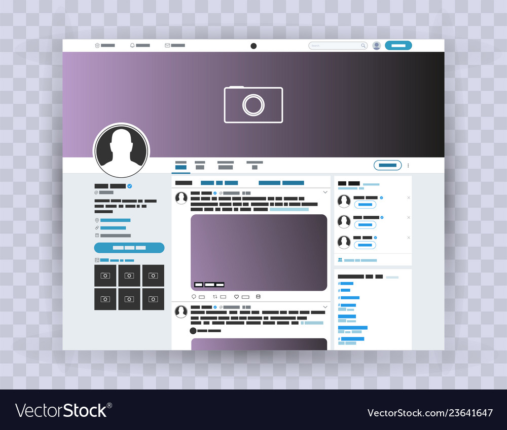 Browser interface twitter mocuk up website