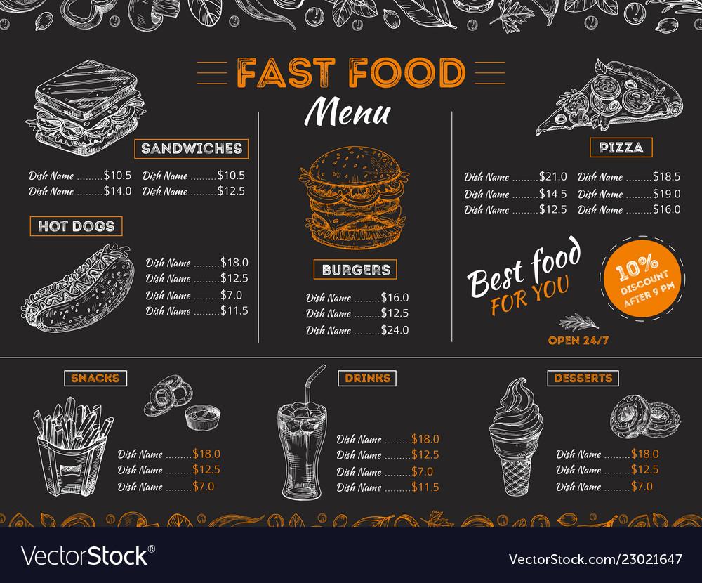 Fast food menu sketch sandwich burger pizza