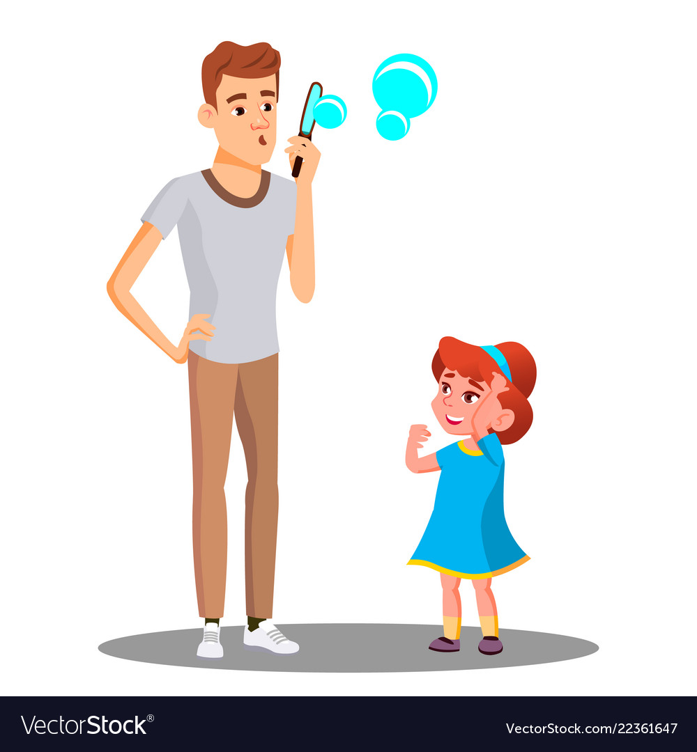 Father with daughter blow the soap bubbles