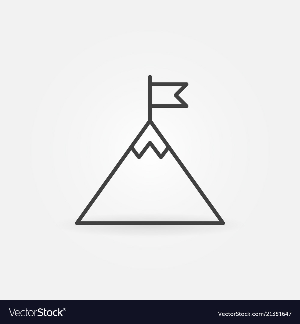 Flag on mountain top outline icon success