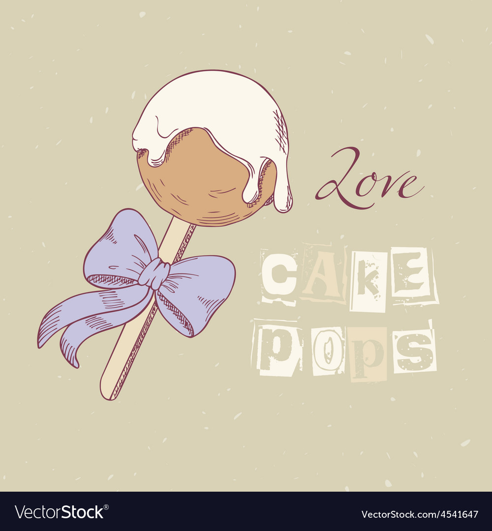 Hand drawn cake pop in vector image