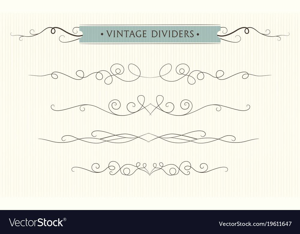 Hand drawn flourishes vintage text dividers