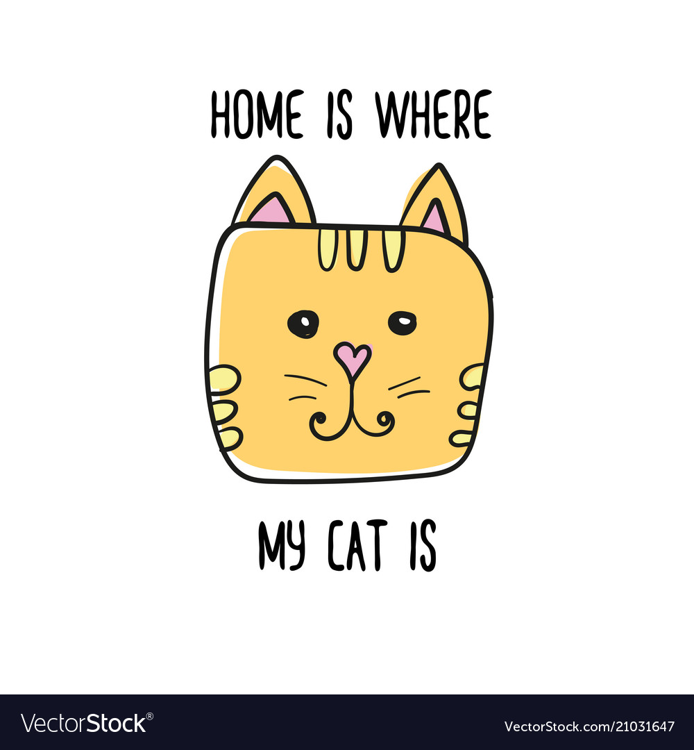 Home is where my cat is quote modern t-shirt