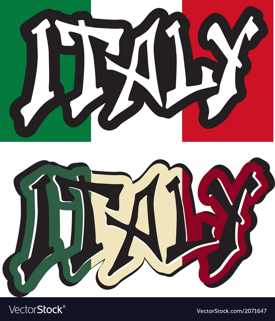 Italy word graffiti different style vector image