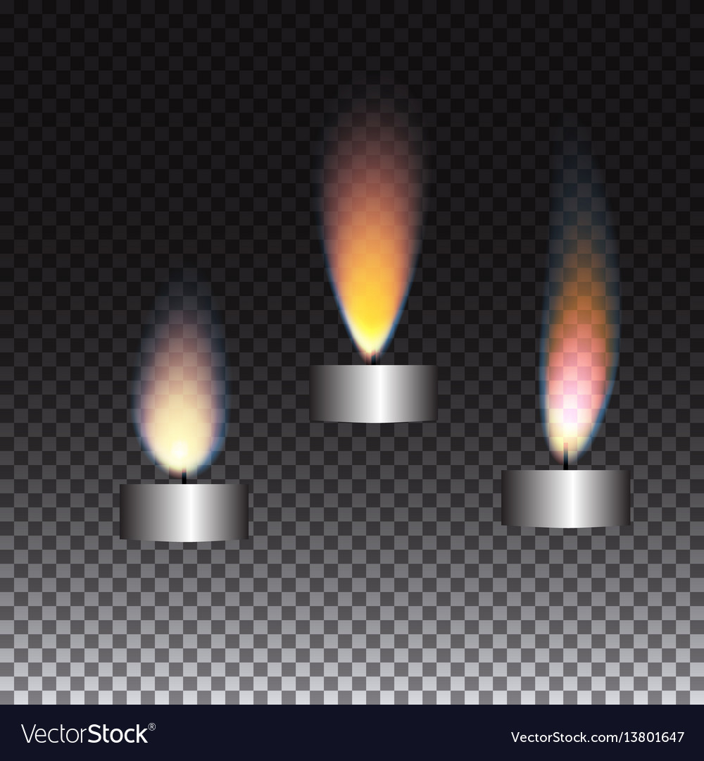 Realistic candle flame set on transparent