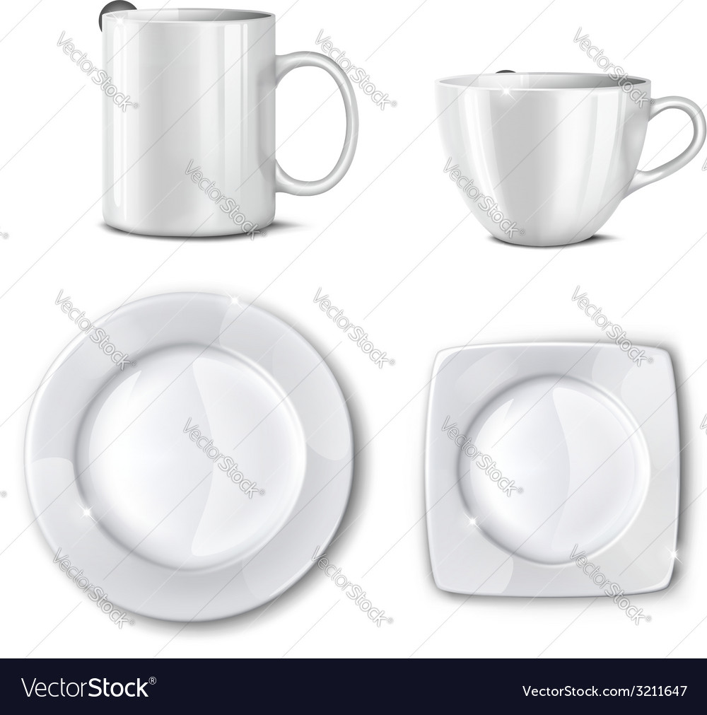 Set of cups and plates vector image