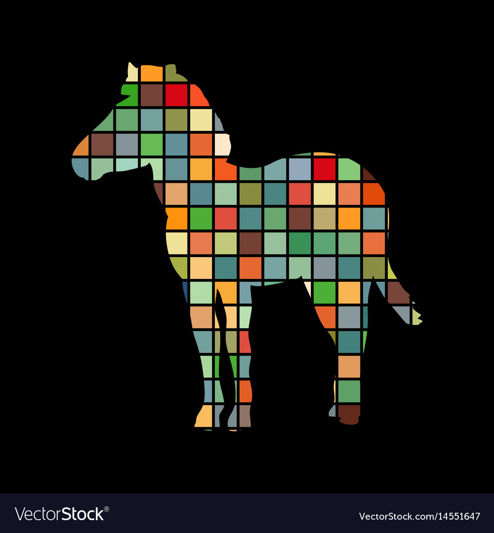 Zebra mammal color silhouette animal vector image
