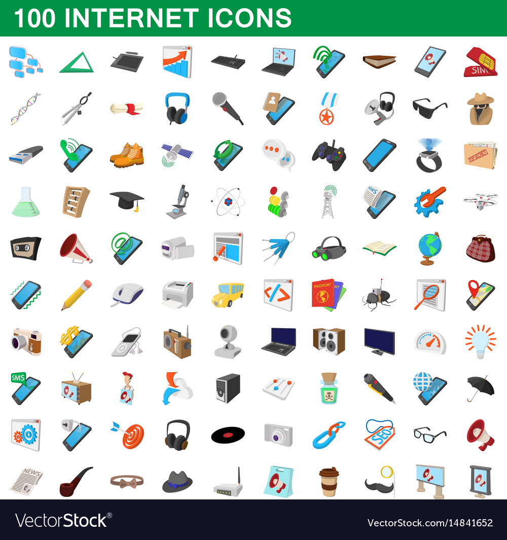 100 internet icons set cartoon style