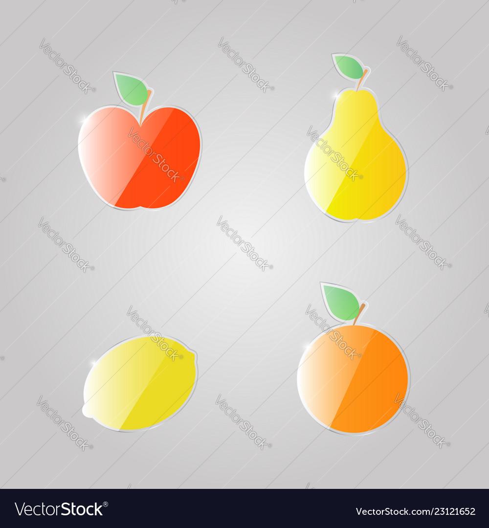 Apple pear lemon orange on a gray background