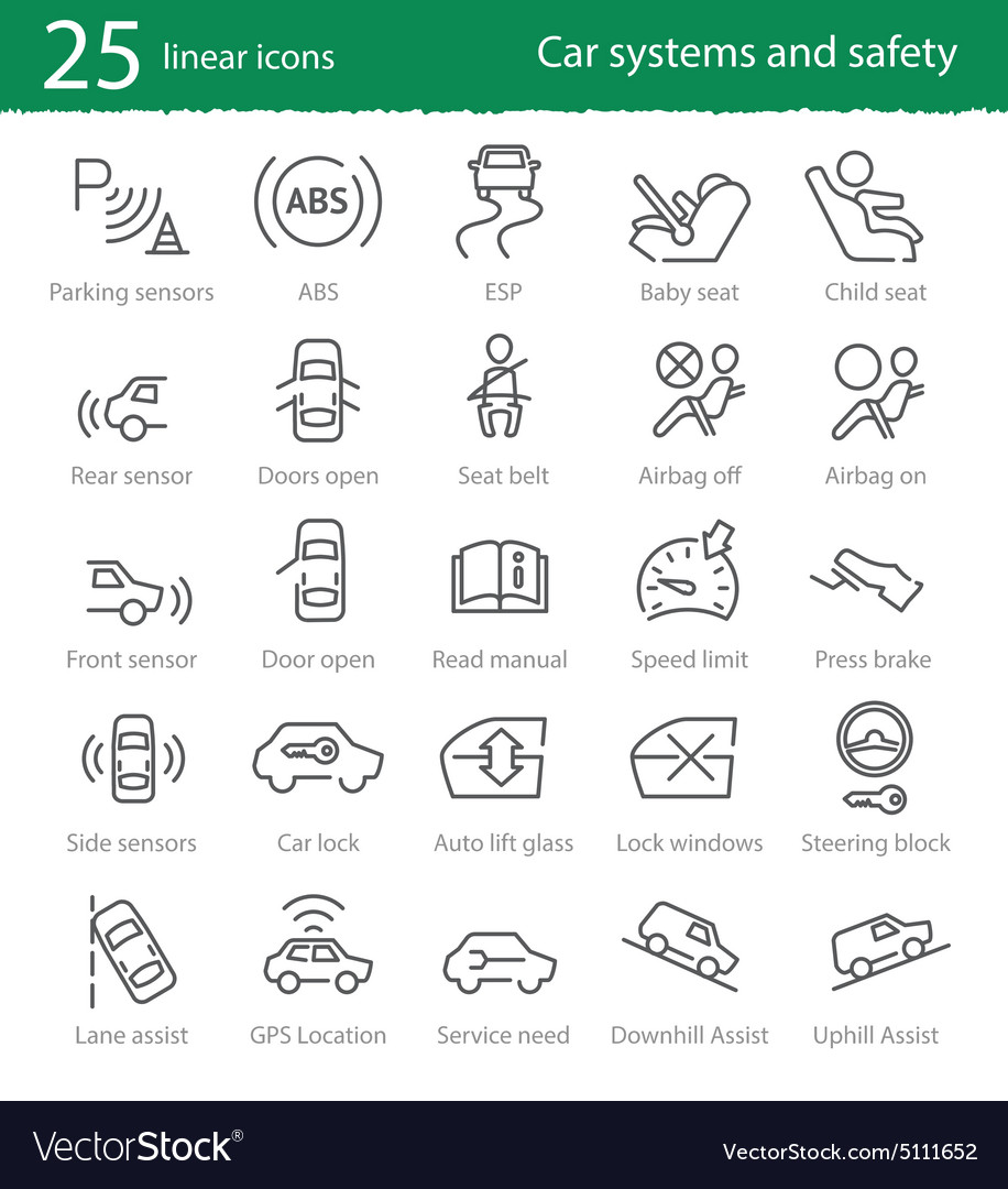Car interface and electronic safety systems icons