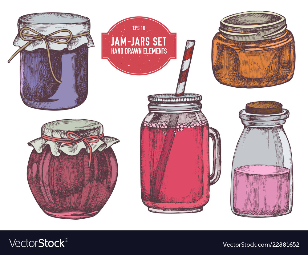 Collection of hand drawn colored jars