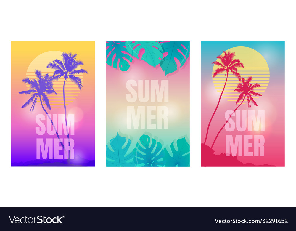 Colored summer backgrounds with palm trees