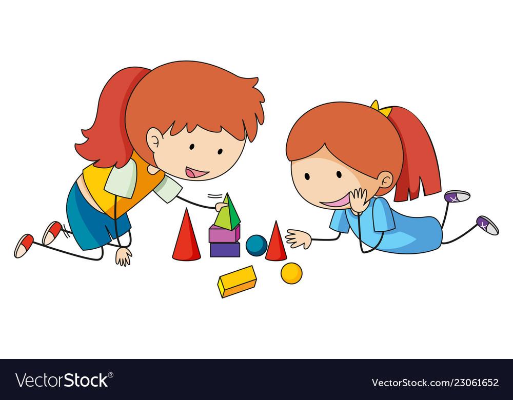 Girls Playing Block Toys Royalty Free Vector Image