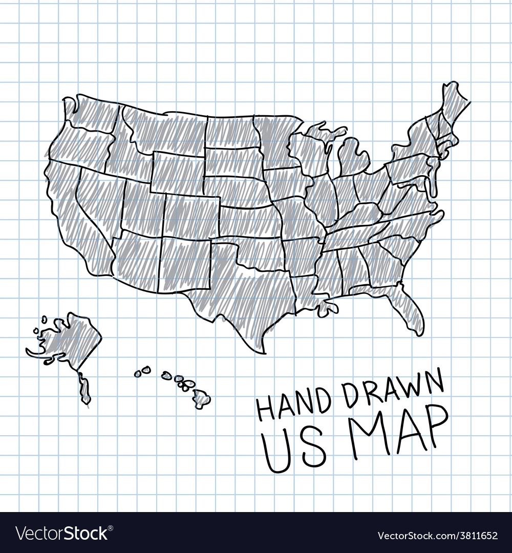 Hand drawn US map Royalty Free Vector Image - VectorStock