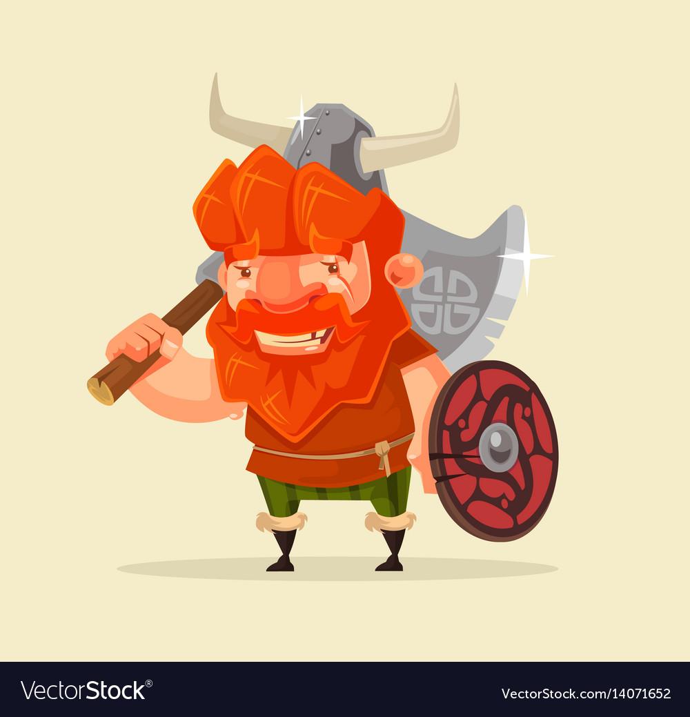 Happy smiling friendly viking man character mascot
