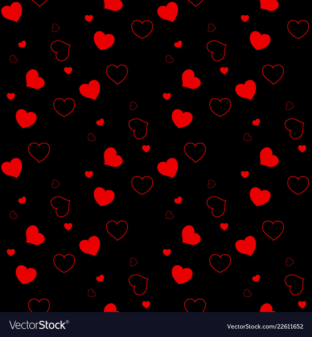 Seamless pattern with red hearts on a black