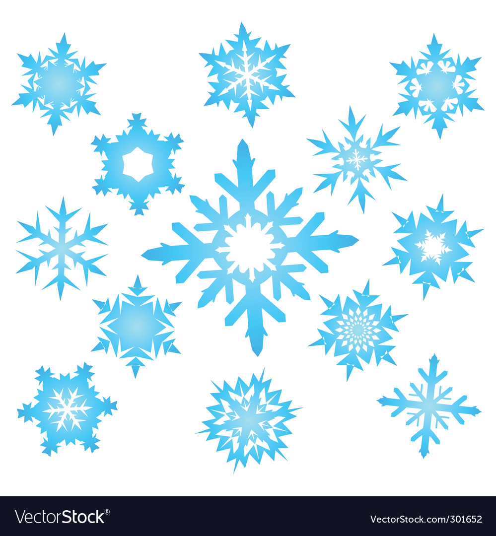 Set of blue snowflakes