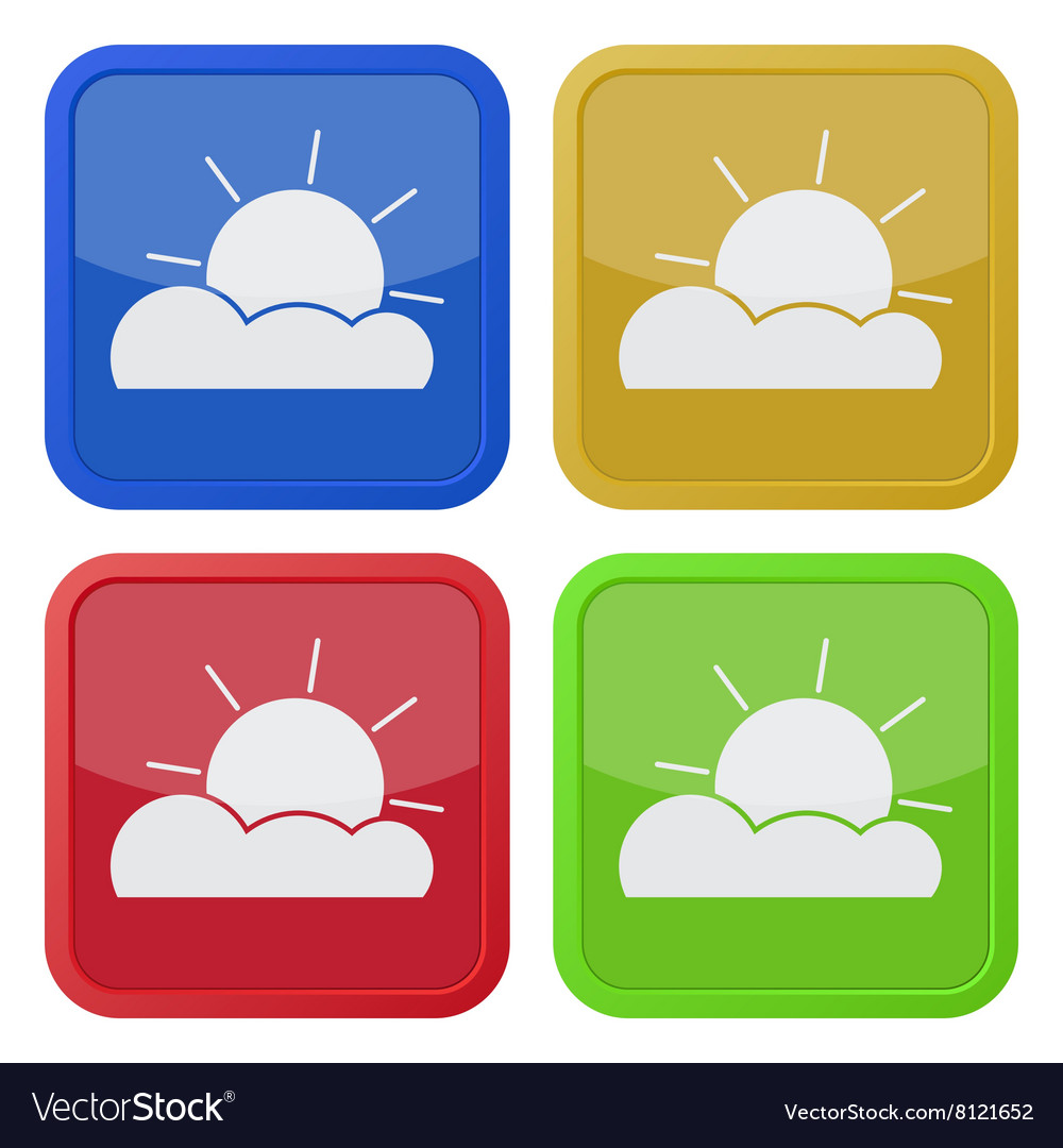 Set of four square icons with partly cloudy
