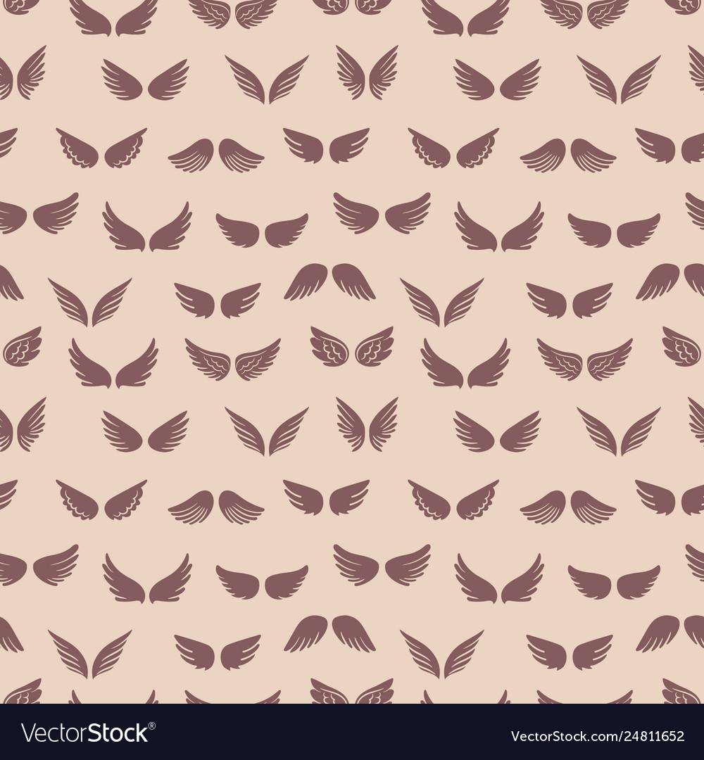 Wings silhouettes seamless pattern fashion