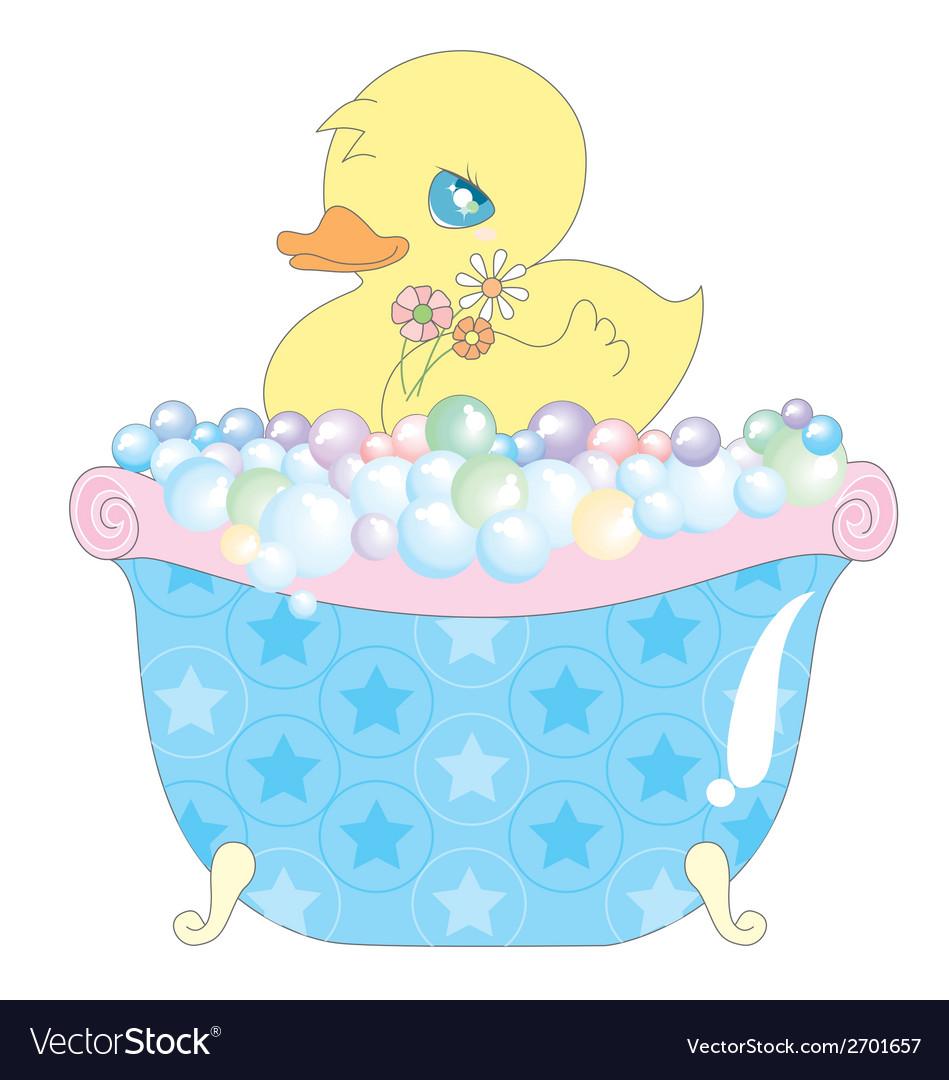 Baby duck in bathtub Royalty Free Vector Image