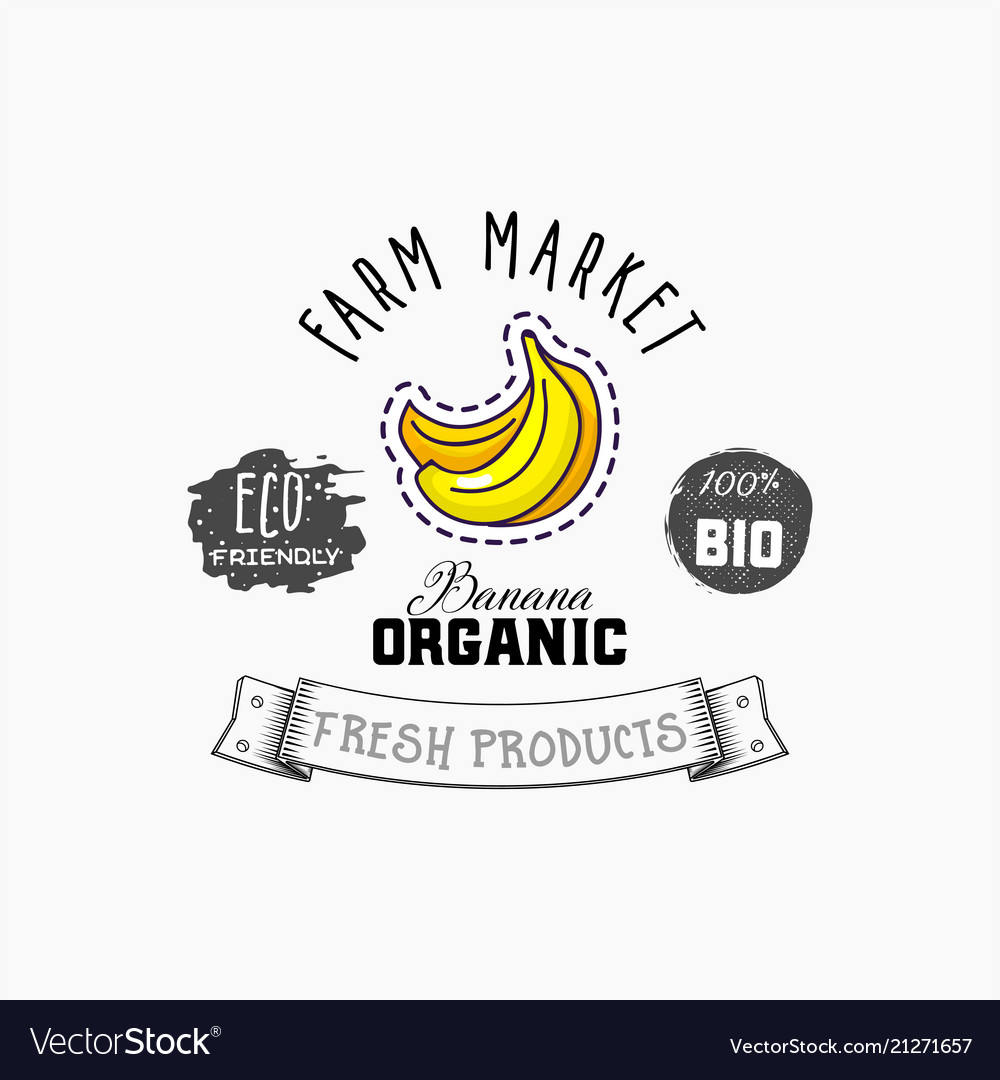 Bio sticker and eco products banana web element