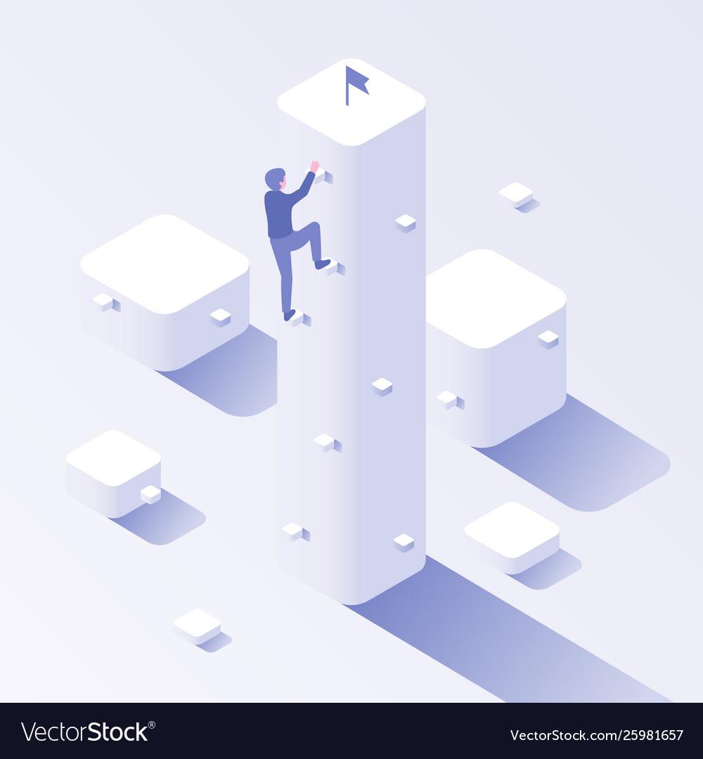 Businessman career climb business climbing