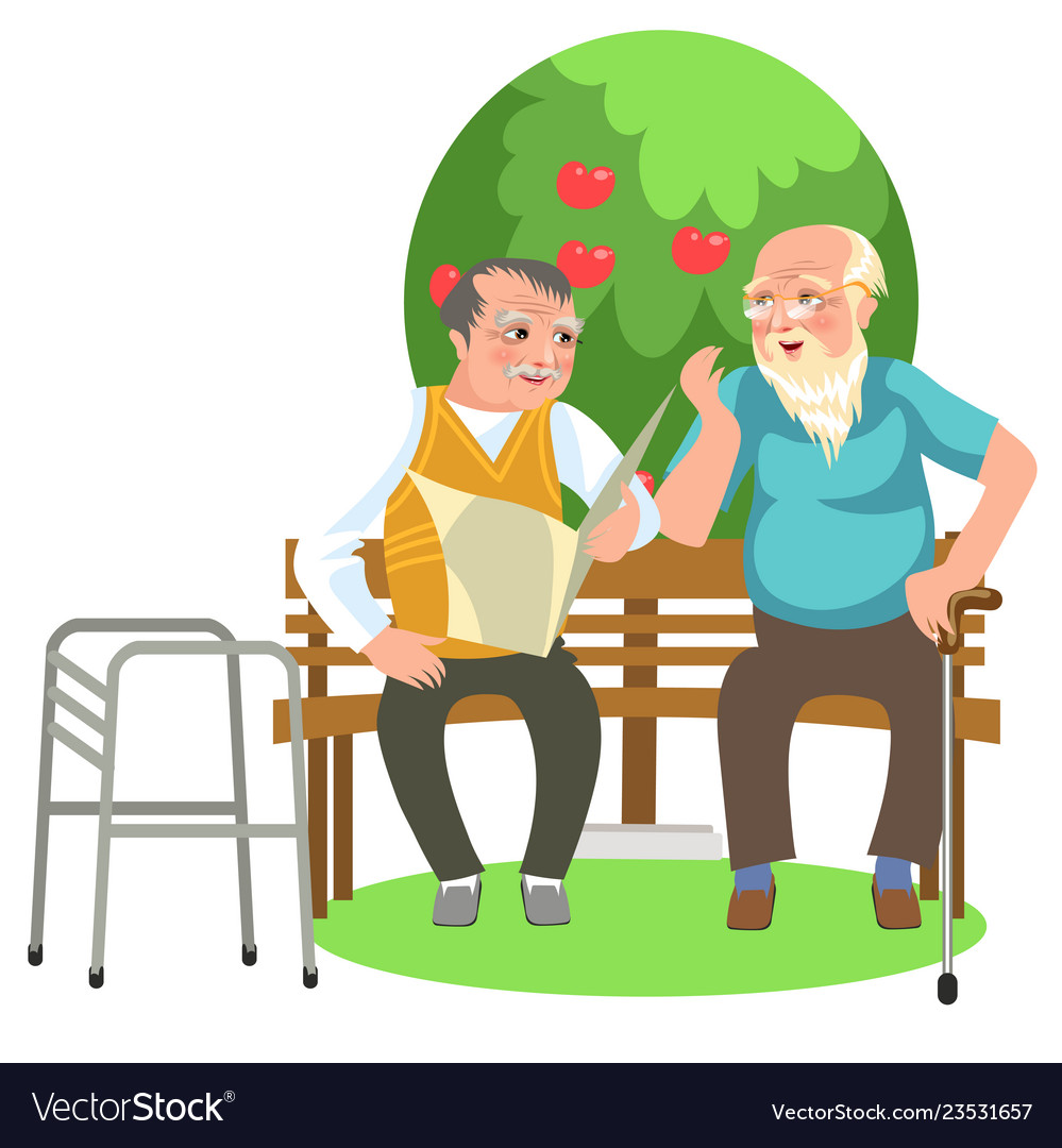 Cartoon two old mates talking in park and resting