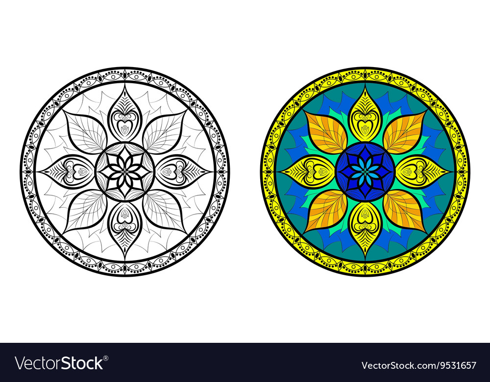 Color and Black Floral Mandala Set