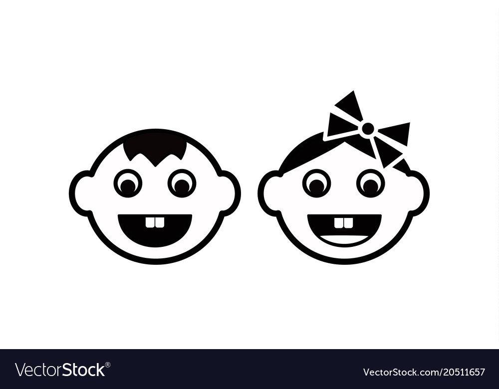Cute kids face icon
