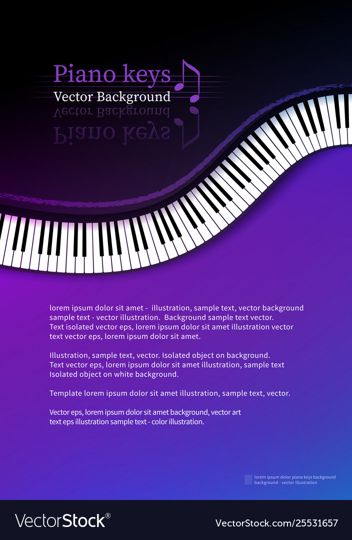 Design template with top view piano keys