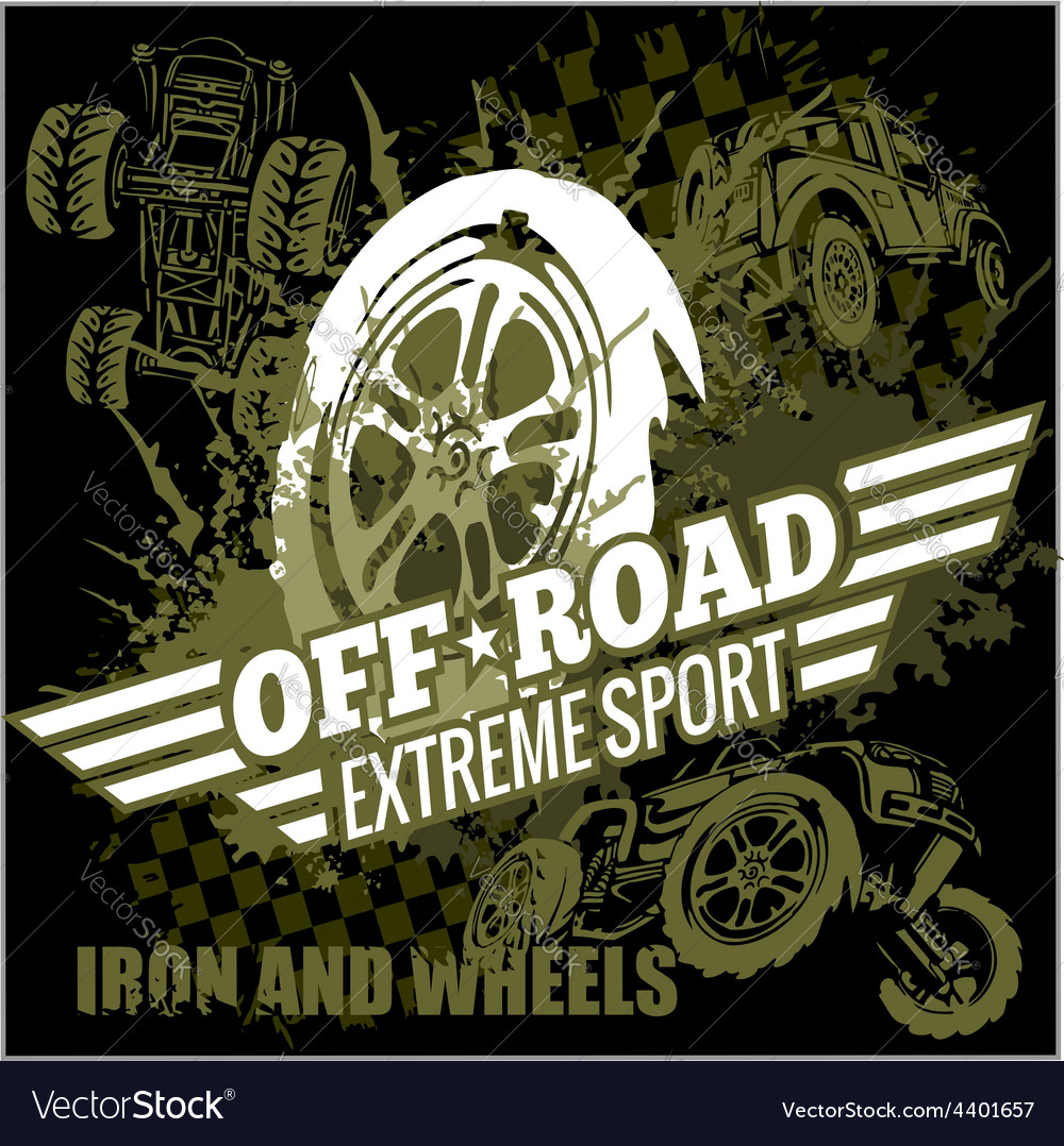 Emblem with off-road cars