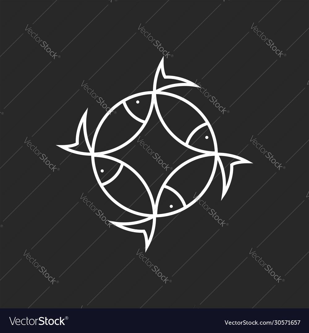 Fish logo round design minimal style emblem