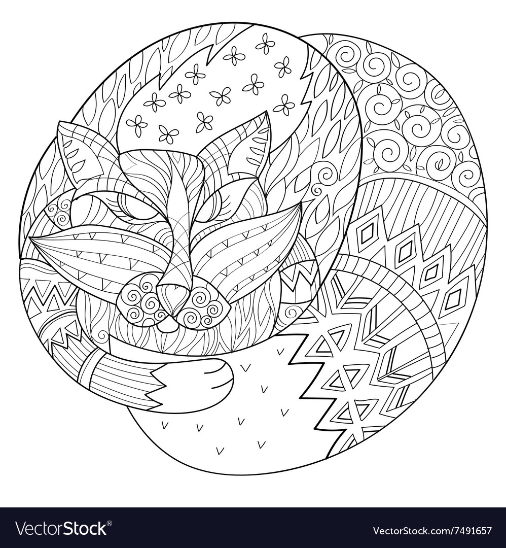 Hand drawn doodle outline fox sleeping decorated