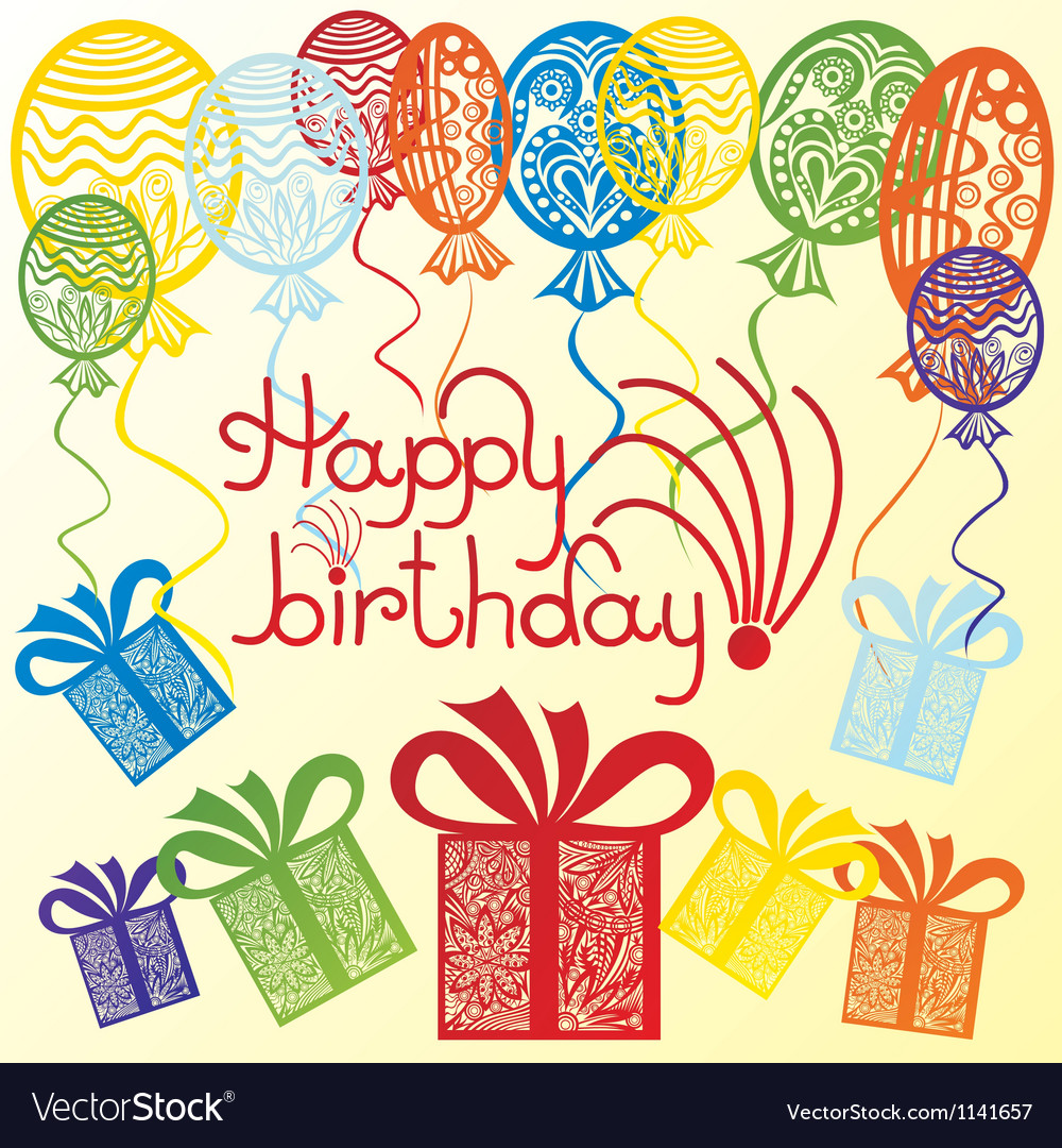 Happy Birthday Balloons Presents Vector Image
