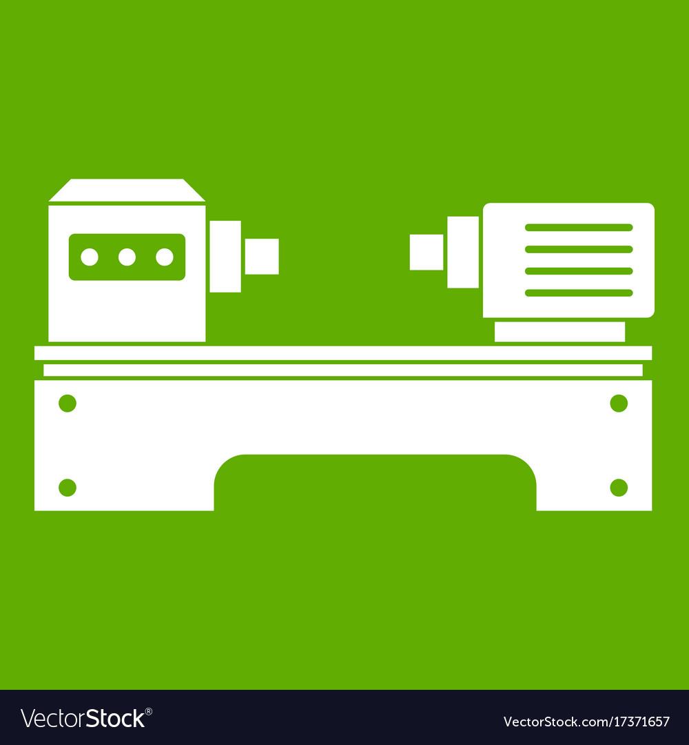 Lathe machine icon green vector image