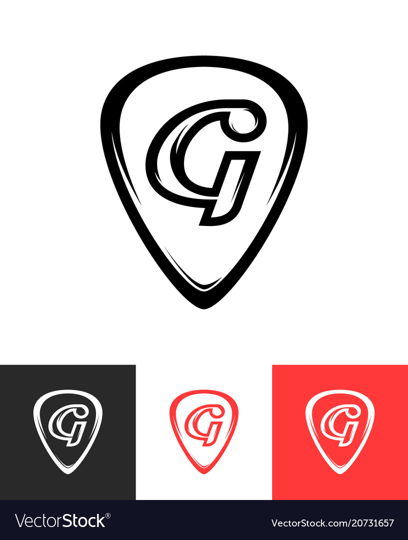 Logo for guitar store on different backgrounds vector image