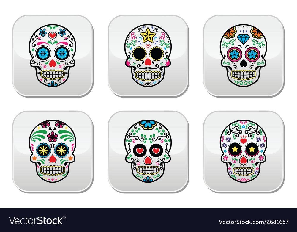 Mexican sugar skull Dia de los Muertos buttons se