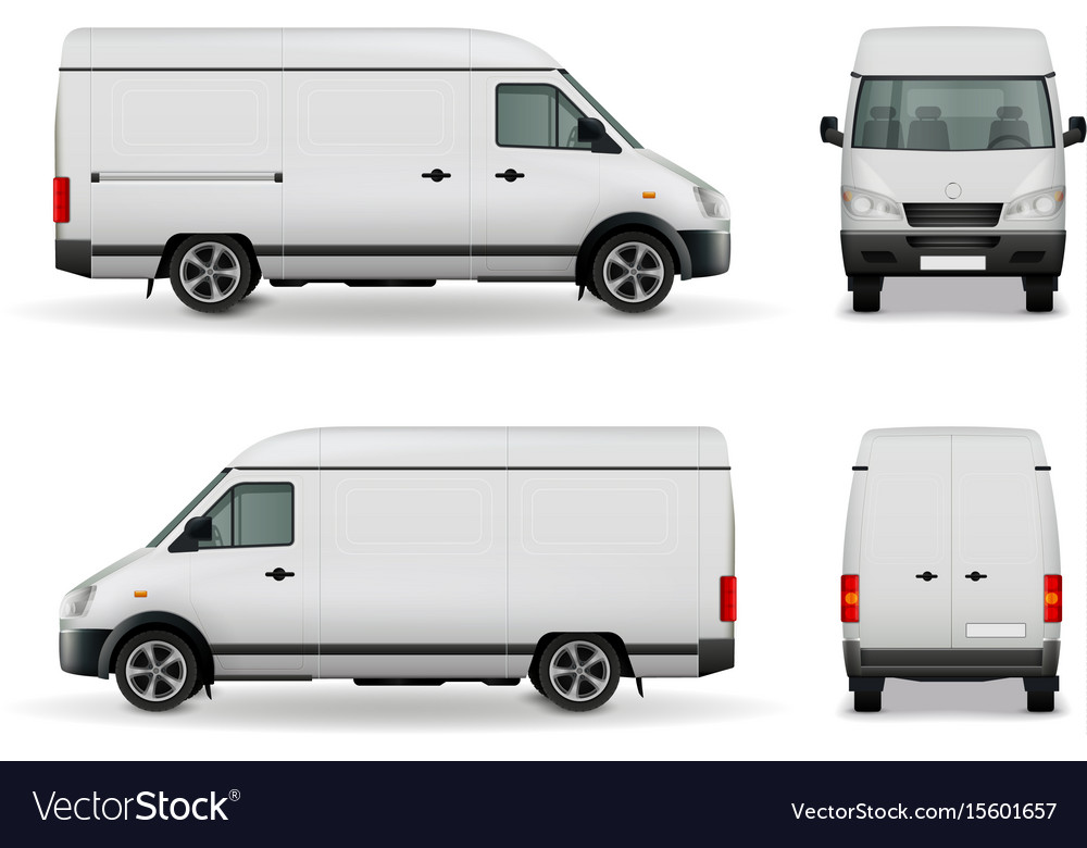 Realistic cargo van advertising mockup vector image