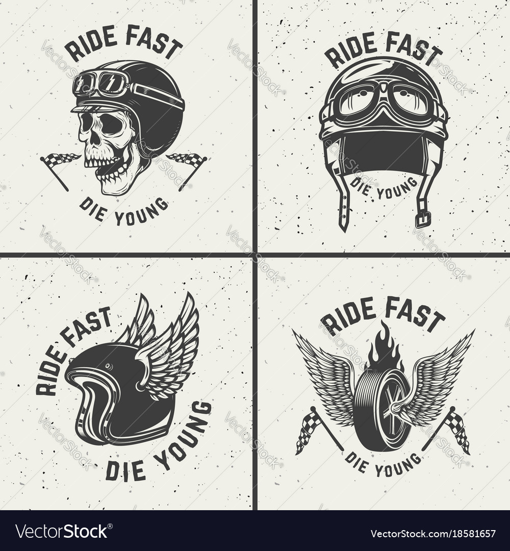 Ride fast die young racer helmets wheel with wings